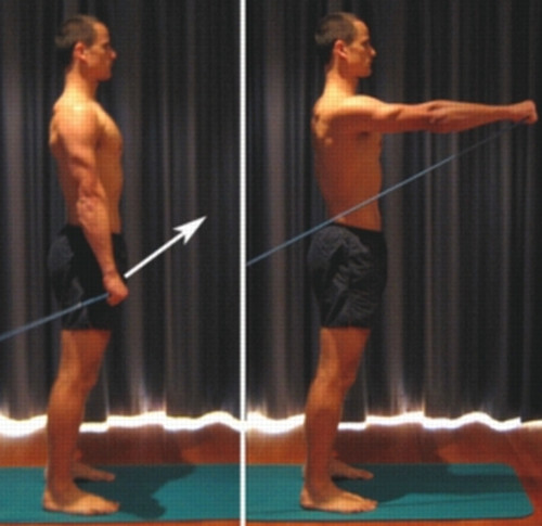 Deltoid muscle exercise using a resistance band.image